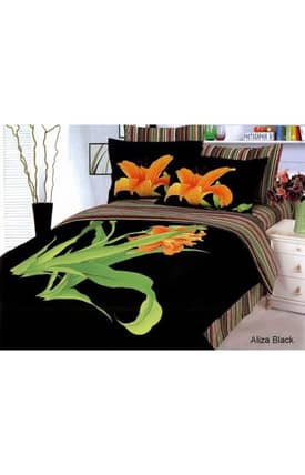 2 Decorate Le Vele Tiger Lily Aliza Black Bed in a Bag Duvet Cover Set