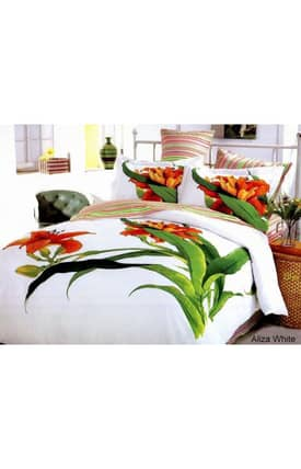 2 Decorate Le Vele Tiger Lily Aliza White Bed in a Bag Duvet Cover Set