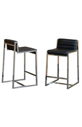 Diamond Sofa Stools Bonded Leather with Polished Stainless Steel Base Counter Stool Furniture