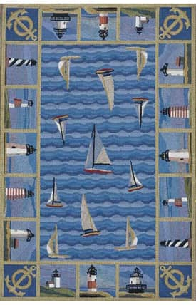 Sapphire Rugs Sapphire Novelty Handmade Wool-Colonial-Blue Lighthouses Rug