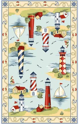 Sapphire Rugs Sapphire Novelty Handmade Wool-Colonial-Lakehouse Views Rug