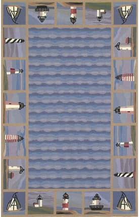 Sapphire Rugs Sapphire Novelty Handmade Wool-Colonial-Lighthouse Waves Rug