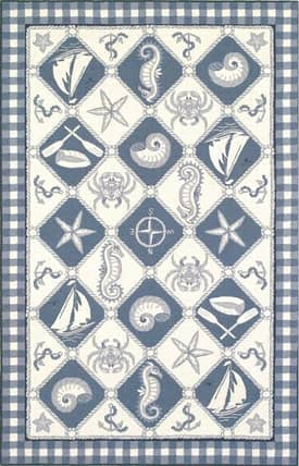Sapphire Rugs Sapphire Novelty Handmade Wool-Colonial-Nautical Panel Rug