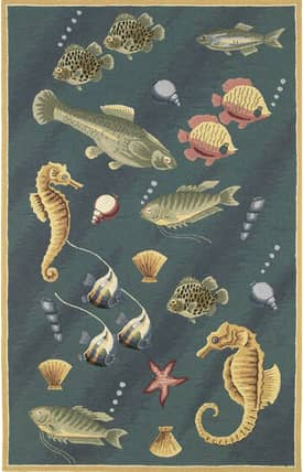 Sapphire Rugs Sapphire Novelty Handmade Wool-Colonial-Deep Sea Dives Rug