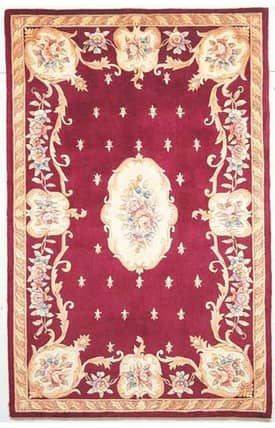 Sapphire Rugs Sapphire Country & Floral Handmade Wool-Ruby-Fleur De Lis Aubusson Rug