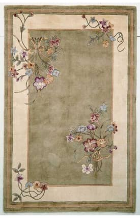 Sapphire Rugs Sapphire Country & Floral Handmade Wool-Ruby-Bouquet Rug