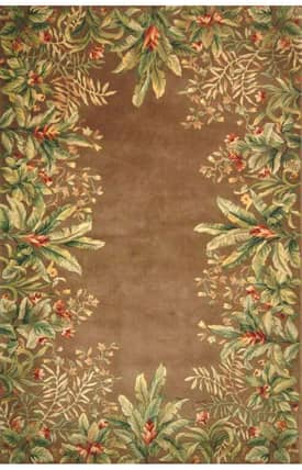 Sapphire Rugs Sapphire Country & Floral Handmade Wool-Emerald-Tropical Border Rug