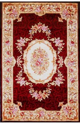 Sapphire Rugs Sapphire Country & Floral Handmade Wool-Emerald-Savonnerie Rug